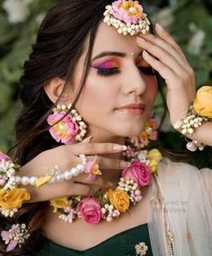 Pink and Yellow Floral Haldi Mehandi Wedding Bridal Necklace, Earrings, Maangtika, Bracelet and Hair Indian Wedding Jewelry, Indian Jewelry, Flower Jewellery For Mehndi, Flower Jewelry, Pearl Jewelry, Silver Jewelry, Silver Ring, Silver Earrings, Nose Jewelry