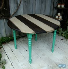 Better After: Layer it on me! darling black & white striped table with turquoise legs!