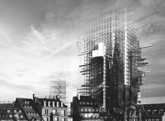 Image 1 of 11 from gallery of Winners of Unbuilt Visions 2014 Competition Announced. Grand Prize: 'Radical Conservation: A Hyper-Cathedral in Strasbourg' / Simon Oudiette. Image Courtesy of Architecture Visualization, Architecture Drawings, Futuristic Architecture, Concept Architecture, Architecture Design, Small Country Homes, Amazing Drawings, Technical Drawing, City Buildings