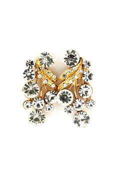 Victorian Inspired Leaf Petal Crystal Fia Earrings