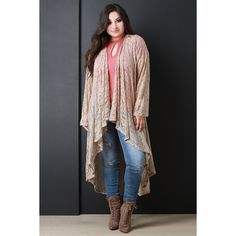 Open Cascade Front Longline Lace Cardigan ($49) via Polyvore featuring tops, cardigans, plus size long sleeve tops, longline cardigan, plus size tops, long sleeve lace cardigan and long sleeve open front cardigan