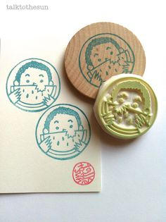 summer holiday rubber stamp. circle rubber stamp. hand carved stamp. hand carved rubber stamp. mounted.