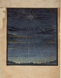 Selection from Kometenbuch, written in 1587, a book containing descriptions of comets and hand painted illustrations.