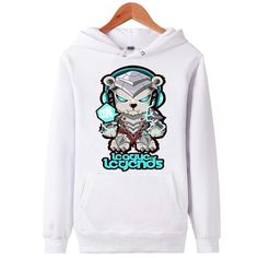 League of Legends - Cute Volibear - Pullover Hoodie - Black - White
