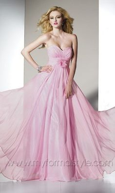 Flowing Pink Strapless Sweetheart Ruffled Formal Dress