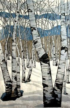 Northern Shadows, large relief woodcut by Lisa VanMeter Art Et Illustration, Art Moderne, Art Plastique, Woodblock Print, Painting Inspiration, Art Lessons, Art Projects, Project Ideas, Cool Art