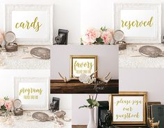 Printable Wedding Signs Bundle, 5x7, Gold Reserved Sign, Please Sign our guest book sign, Cards sign, program take one sign, Favors, WB02 by OccasionHouse on Etsy