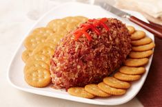 RITZ Cheesy Football recipe  I make this for every Super Bowl, but I use Mayo instead of Miracle Whip and Red Twizzlers Pull n Peel instead of pimentos. So very good!!