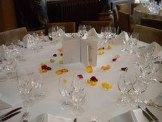 Arrangement with flower petals - Hôtel des Trois Couronnes, Vevey, Switzerland Banquet, Flower Petals, Flowers, Vevey, Switzerland, Table Settings, Events, Table Decorations, Home Decor
