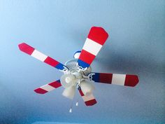 Painted fan, when turned on it looks like captain America's shield Superhero room www.facebook.com/paintinghutto