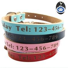 Namsan Soft Real Personalized Leather Dog Collar Embroidered with A free Blue Pet Tag for Small Medium Large Dogs -- See this awesome image  : Collars for dogs