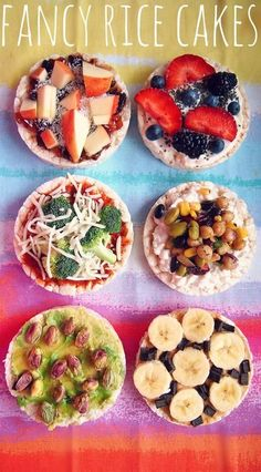 ❝Rice cakes are many times perceived as a blah snooze. Just try different toppings, add your fave ingredients, let your imagination run wild, and create tons of delicious yet healthy rice cakes.❞