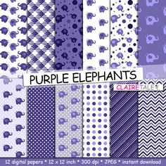 """Elephant digital paper: """"PURPLE ELEPHANTS"""" with elephants, polka dots, stripes, gingham, chevrons in purple by clairetale. Explore more products on http://clairetale.etsy.com"""