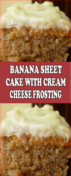 Banana Sheet Cake with Cream Cheese Frosting - banana pudding Spice Cake Recipes, Sheet Cake Recipes, Homemade Cake Recipes, Dessert Recipes, Recipes With Cake Flour, Sheet Cake Pan, Brownie Recipes, Moist Banana Bread, Banana Bread Recipes