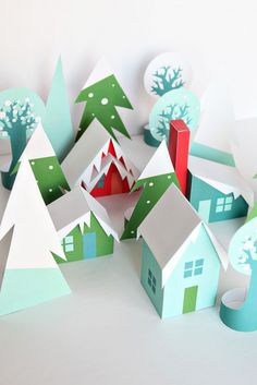 Printable Paper Craft DIY Holiday Houses - A Christmas Village you can download and print