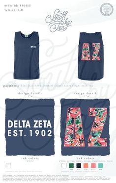 Delta Zeta | DZ | Floral T-Shirt Design | Hawaiian Theme Tank | South by Sea | Greek Tee Shirts | Greek Tank Tops | Custom Apparel Design | Custom Greek Apparel | Sorority Tee Shirts | Sorority Tanks | Sorority Shirt Designs