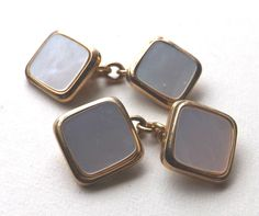 SOLD! Vintage CHAINLINK CUFFLINKS Doubled Faced Gold Tone MOTHER OF PEARL Free P&P