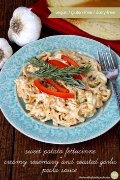 Clean Eating Sweet Potato Fettuccine with Creamy Rosemary and Roasted Garlic Pasta Sauce made with Pastamore' products is.a savory, rustic dish that can be made in less than 20 minutes and it's vegan, gluten-free and dairy-free   The Healthy Family and Home
