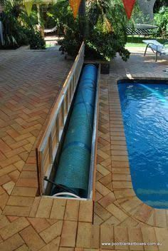 For quality custom made pool blanket boxes & pool storage boxes throughout Perth & Australia, contact Pool Blanket Boxes on 9250 6872 for a quote Backyard Pool Landscaping, Backyard Pool Designs, Small Pool Backyard, Swimming Pools Backyard, Swimming Pool Designs, Pool Storage, Pool Enclosures, Small Pools, In Ground Pools