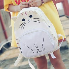 Cute cat canvas backpack SE8657