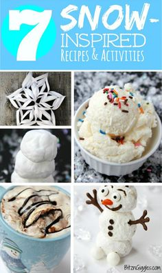 7 Snow-Inspired Activities - Snowball Hot Chocolate, Snow Ice Cream, Snowflakes, Reindeer Food, Molding Snow and more! So much winter fun packed into this post! Creative Snacks, Creative Arts And Crafts, Frozen Birthday Party, Frozen Party, 3rd Birthday, Birthday Ideas, Snow Ice Cream, Free Activities For Kids, Reindeer Food