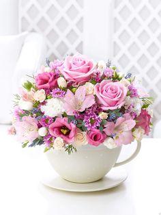 Teacup of Roses, Mums, and Austrolmaria