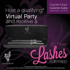 Host a qualifying online LASH BASH in September and receive a set of 3D Fiber Lashes Mascara for FREE!! Email me for details! mymusthavemascara@gmail.com http://www.mymusthavemascara.com