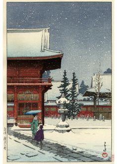 根津権現の雪 昭和8年(1933)作 日本武尊が創建したと伝えられる神社で、将軍徳川家宣が今の場所に新しく社殿を造営した。諸侯を動員した工事だったので天下普請と言われた。社殿の他に、楼門、唐門、透塀などが国の重要文化財に指定されている。緑の多い境内はツツジの名所で、画面に描かれている楼門の左手の斜面に植えられているツツジが満開になる春には、多くの人で賑わう。