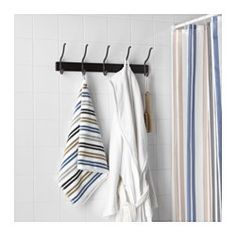 IKEA - HJÄLMAREN, Towel rack with 5 hooks, black-brown stain,
