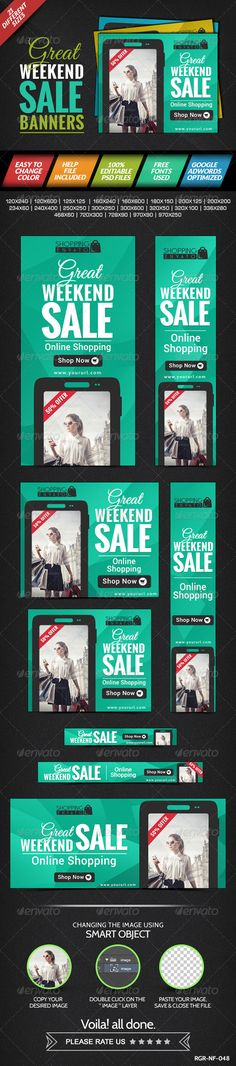 Weekend Sale Banner  - Banners & Ads Web Template PSD. Download here: http://graphicriver.net/item/weekend-sale-banner-/8387511?s_rank=1366&ref=yinkira
