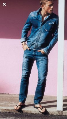 Barefoot Men, Photography Poses For Men, Mens Flip Flops, Male Feet, Charlie Hunnam, Suit And Tie, Long Pants, Denim Shirt, Cute Guys