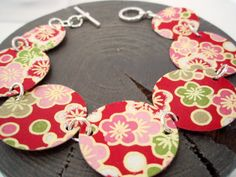 Pink and Red Cherry Blossom Bracelet by verveinedesigns on Etsy, $38.00