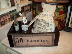 Shabby French black  box organizer keepsake by JulieannasCreations, $20.00