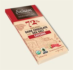 Salazon Chocolate Co. 72% Organic Dark Chocolate with Sea Salt & Cayenne. The salt makes all of the difference here - brings out the heat, highlights the chocolates richness, and ups the flavor exponentially. My new favorite spicy chocolate bar (and I've had many, many others)