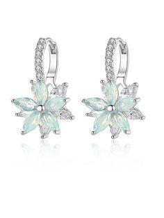 Cubic Zirconia Earrings, Rhinestone Earrings, Women's Earrings, Flower Shape, Flower Stud, Flower Plates, Luxury Jewelry, Trumpet, Quinceanera