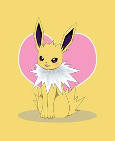 """Jolteon with """"Love"""" symbol  #Nintendo #Pokémon #Videogame #videogames #game #Games #cartoon #Jolteon #cute #products #product #redbubble #design #drawing #draw #fanart #tshirt #hoodie #ipadcases #iphonecases #iphonecase #ipadcase #Samsunggalaxy #Apple #Samsung #Samsungcase #samsungcases #Laptopskin #Laptopskins #mug #mugs #travelmug #sticker #stickers #totebag #throwpillow #throwpillows #pillow #pillows #sale #eeveelution #fox #smile #smiling #lookingatviewer #yellow #shock #lightning…"""