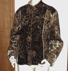 Chicos Autumn Jacket Brown Multi Floral Print Button Down LS Velvet Type Size 3  #Chicos #BasicJacket