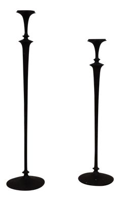 Tall Arts & Crafts Candlesticks - A Pair on Chairish.com Wood Router, Wood Lathe, Cnc Router, Lathe Projects, Wood Turning Projects, Vintage Ashtray, Arts And Crafts Movement, Wood And Metal, Candlesticks