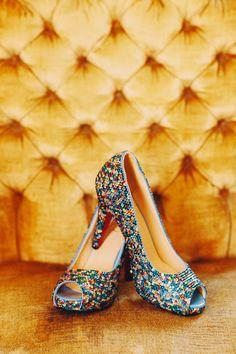 Gorgeous multicolored rhinestone heels