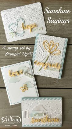 Sunshine Sayings, Softly Falling Embossing folder- Stampin' Up! Embossed Cards, Cool Cards, Diy Cards, Stampin Up Catalog, Embossing Folder, Stamping Up Cards, Anniversary Cards, Flower Cards, Creative Cards