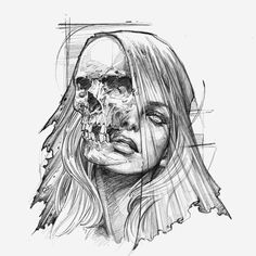 Ohlatpz Tattoo Mädchen Gesicht - Famous Last Words Creepy Drawings, Dark Art Drawings, Creepy Art, Cool Drawings, Tattoo Drawings, Drawing Sketches, Sketch Tatto, Art Sinistre, Art Du Croquis