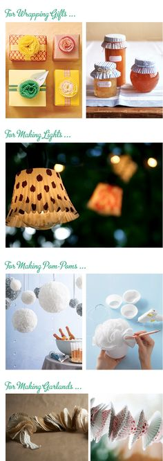 Things to do with cupcake liners. Wrapping gifts, making garland, more. #party…