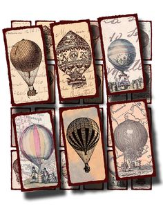 hot air balloons, 1 x 2 inch domino rectangles digital collage sheet,  no. 848