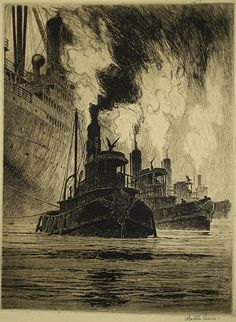 Martin Lewis (1881-1962)  'Puffing Billies', 1916