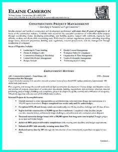 Awesome Cool Construction Project Manager Resume To Get Applied