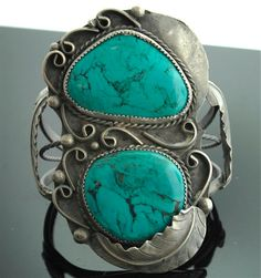 Vintage Cuff | Designer unknown. Sterling silver and turquoise