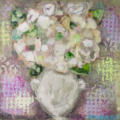 "Christy Kinard, ""Sweet Hydrangea"", Mixed Media on Board, 16x16 - Anne Irwin Fine Art"