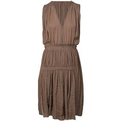 ISABEL MARANT Adara Dress Anthracite ($350) ❤ liked on Polyvore featuring dresses, flounce dress, brown dress, ruffle v neck dress, slip on dress and flouncy dress