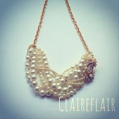 Woven Pearl & Golden Flower Duo Bib Necklace  by ClaireFlair