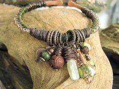 Ladies Bangle 7 Deadly Sins (ENVY) Green Kyanite, Peridote, Aqua Terra Copper Charm Bracelet